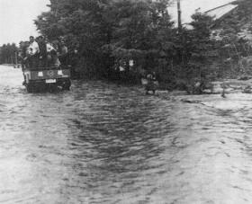 札内川氾濫による洪水の状況